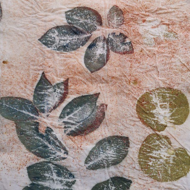 Impression botanique de feuilles de prunus sur de la soie